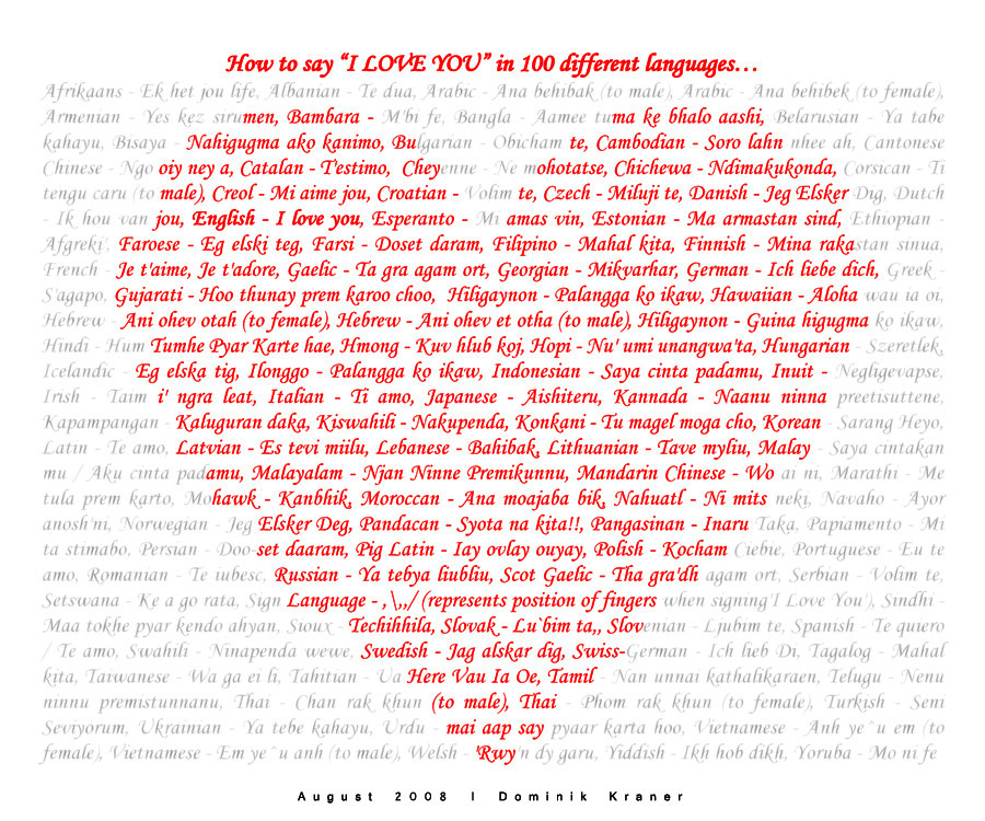 How to say I LOVE YOU in worlds 100 different languages ...